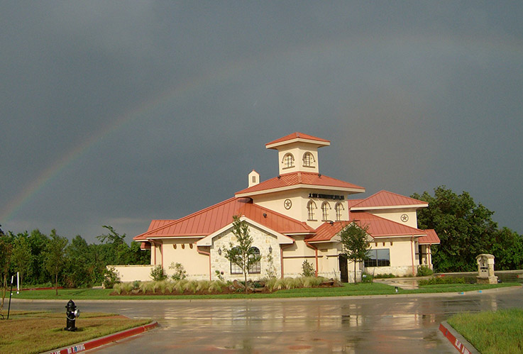 Exterior view of Southlake dental office after rainstorm